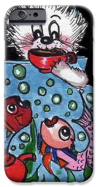 Tea Party iPhone Cases - Kitty has tea and chat with friends.   iPhone Case by Joyce Gebauer