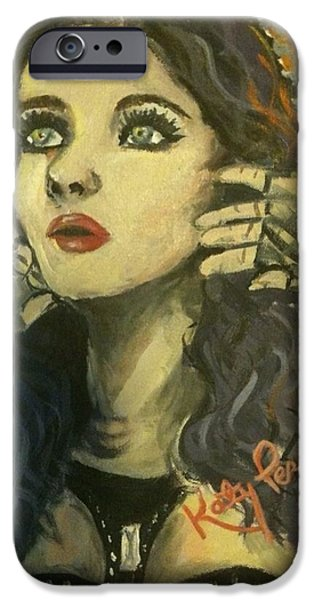 Katy Perry Paintings iPhone Cases - Kitty Perry iPhone Case by Alana Meyers