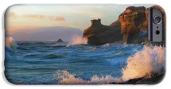 Ocean Sunset iPhone Cases - Kiwanda Waves Crashing iPhone Case by Mike Dawson