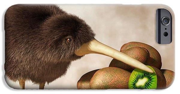 Fuzzy Digital iPhone Cases - Kiwi Bird and Kiwifruit iPhone Case by Daniel Eskridge