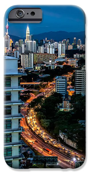 Twin Towers iPhone Cases - KL City iPhone Case by Adrian Evans