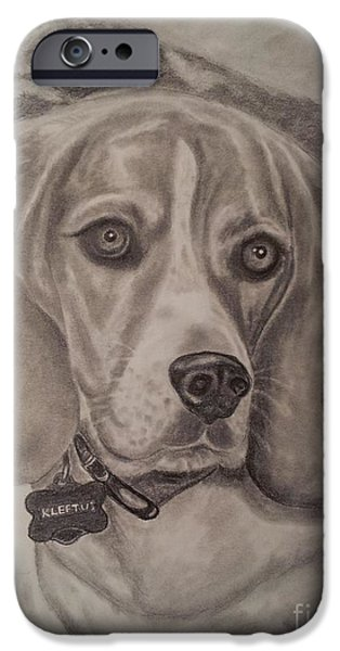 Dog Close-up Drawings iPhone Cases - Kleetus iPhone Case by Julie Brugh Riffey