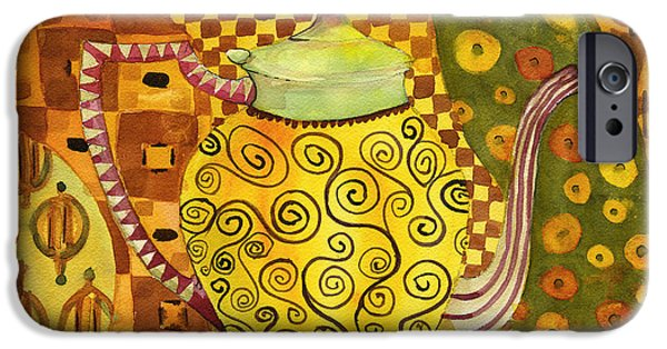 Conceptual Paintings iPhone Cases - Klimt Style Teapot Blenda Studio iPhone Case by Blenda Studio