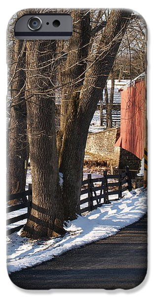 Knecht's Bridge on Snowy Day - Bucks County iPhone Case by Anna Lisa Yoder
