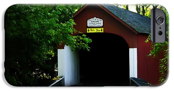 Covered Bridge iPhone Cases - Knechts Covered Bridge iPhone Case by Bill Cannon