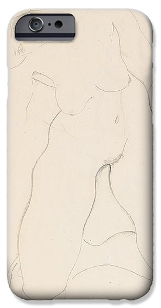 Beautiful Drawings iPhone Cases - Kneeling female nude iPhone Case by Egon Schiele