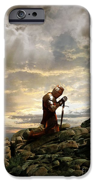Weapon iPhone Cases - Kneeling Knight iPhone Case by Jill Battaglia
