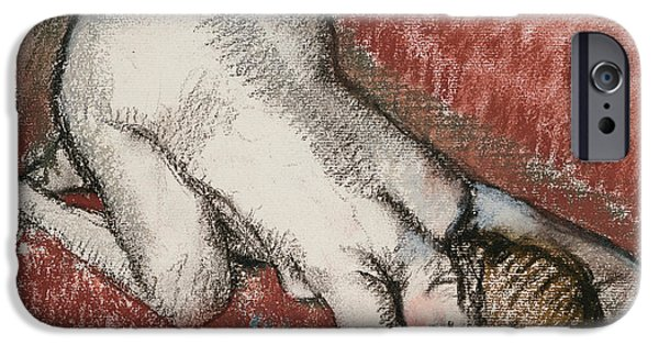 Feminine Pastels iPhone Cases - Kneeling Nude Woman iPhone Case by Edgar Degas