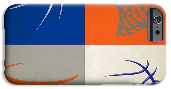 Dunk iPhone Cases - Knicks Ball And Hoop iPhone Case by Joe Hamilton