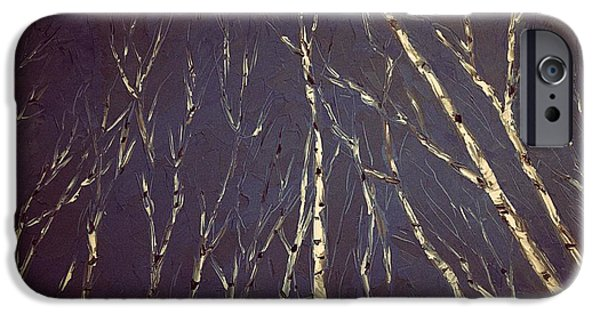 Must Art Paintings iPhone Cases - Knife Painting Birch Trees iPhone Case by Michael James Greene