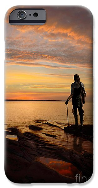 Knights Beach iPhone Cases - Knight at Sunrise iPhone Case by Jill Battaglia