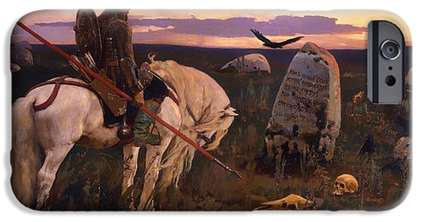 Cemetery Paintings iPhone Cases - Knight at the Crossroads iPhone Case by Victor Vasnetsov