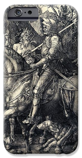 Fantasy Drawings iPhone Cases - Knight Death and the Devil iPhone Case by Albrecht Durer