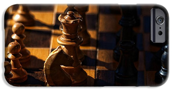 Chess Queen iPhone Cases - Knight takes bishop iPhone Case by Camille Lopez