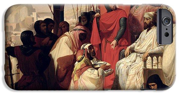 St. John iPhone Cases - Knights of the Order of St John of Jerusalem restoring religion in Armenia iPhone Case by Henri Delaborde