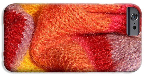 Colorful Abstract Tapestries - Textiles iPhone Cases - Knitted textile iPhone Case by Kerstin Ivarsson