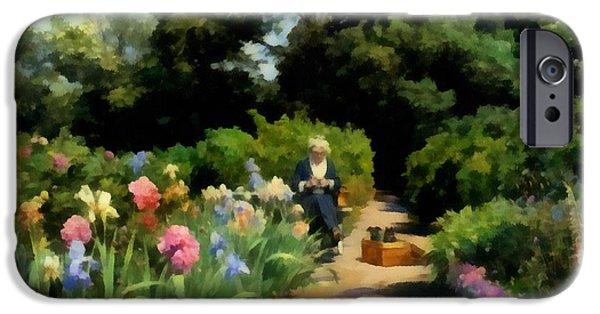 Garden Scene Digital iPhone Cases - Knitting In The Garden iPhone Case by Peder Mork Monsted