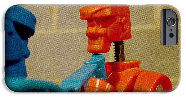 Rockem Sockem Robots iPhone Cases - Knock Out Blow iPhone Case by Richard Reeve