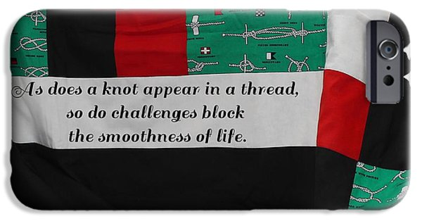 Black Tapestries - Textiles iPhone Cases - Knots on a Quilt with Quote iPhone Case by Barbara Griffin