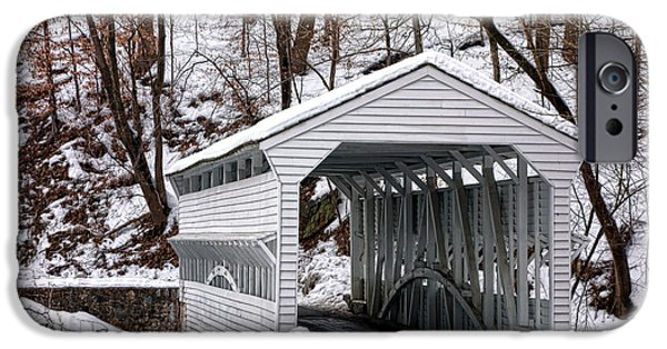 Covered Bridge iPhone Cases - Knox Covered Bridge iPhone Case by Olivier Le Queinec
