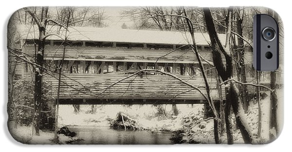 Covered Bridge iPhone Cases - Knox Valley Forge Covered Bridge iPhone Case by Bill Cannon