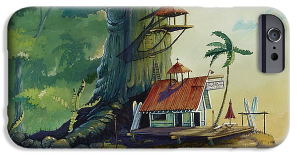 Paintings iPhone Cases - Ko olau Surf Shack iPhone Case by Bill Shelton