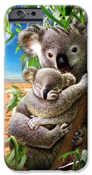 Koala Digital Art iPhone Cases - Koala and Cub iPhone Case by Adrian Chesterman