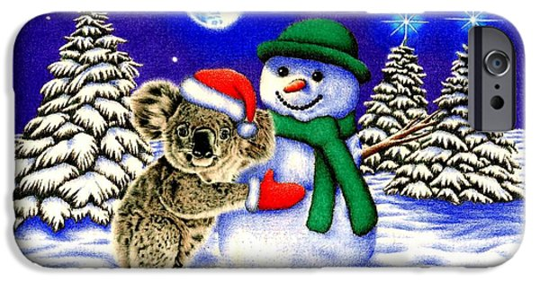 Pines Drawings iPhone Cases - Koala with Snowman iPhone Case by Heidi Vormer