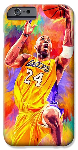 Kobe Bryant Abstract iPhone Cases - Kobe Bryant Basketball Art Portrait Painting iPhone Case by Andres Ramos