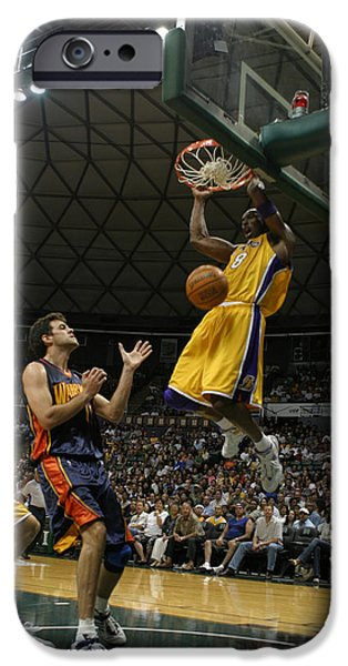 Bryant Photographs iPhone Cases - Kobe Bryant Dunk iPhone Case by Mountain Dreams