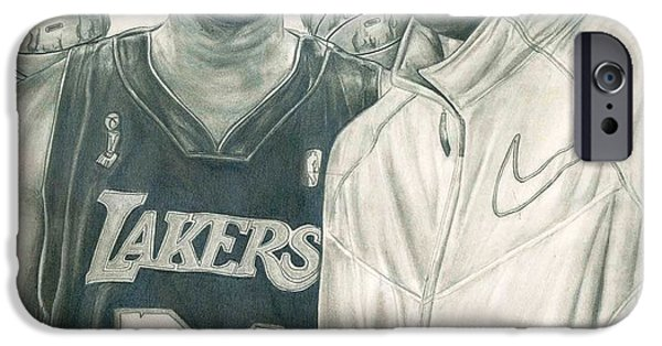 Bryant Drawings iPhone Cases - Kobe Bryant iPhone Case by Kobe Carter