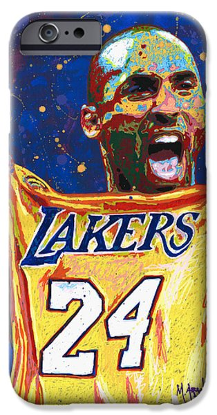 Kobe Paintings iPhone Cases - Kobe Bryant iPhone Case by Maria Arango