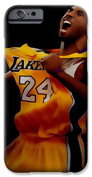 Magic Johnson iPhone Cases - Kobe Bryant Sweet Victory iPhone Case by Brian Reaves