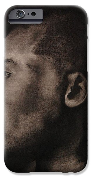 Bryant Drawings iPhone Cases - Kobe Charcoal 1 iPhone Case by Cuca Montoya
