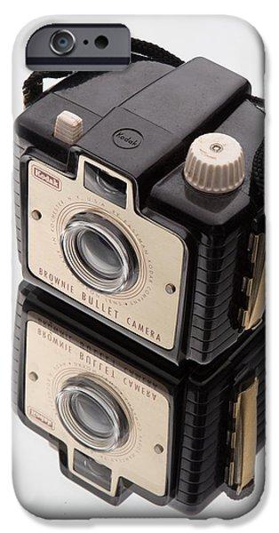 Brownie iPhone Cases - Kodak Brownie Bullet Camera Mirror Image iPhone Case by Edward Fielding