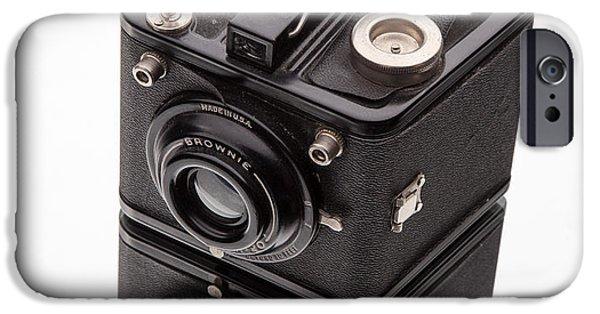 Brownie iPhone Cases - Kodak Brownie Film Camera Mirror Image iPhone Case by Edward Fielding