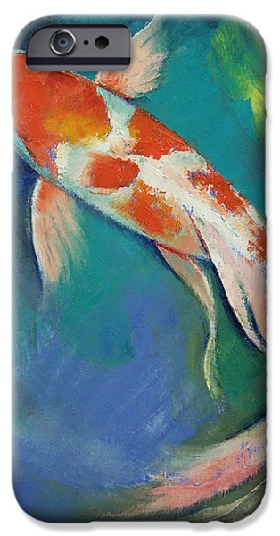 Butterfly Koi iPhone Cases - Kohaku Butterfly Koi iPhone Case by Michael Creese