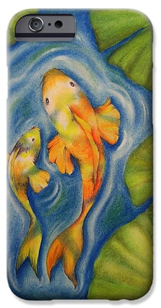 Stripes Pastels iPhone Cases - Koi iPhone Case by Catherine Howley