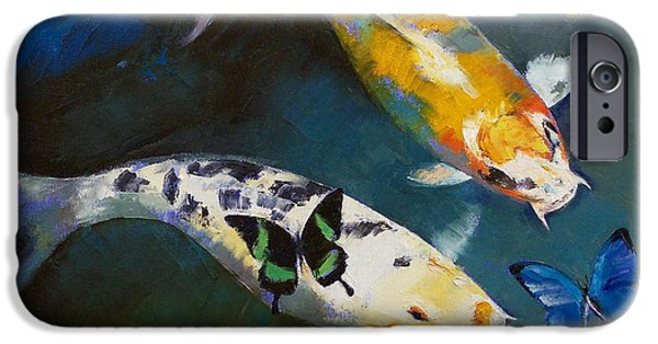Butterfly Koi iPhone Cases - Koi Fish and Butterflies iPhone Case by Michael Creese