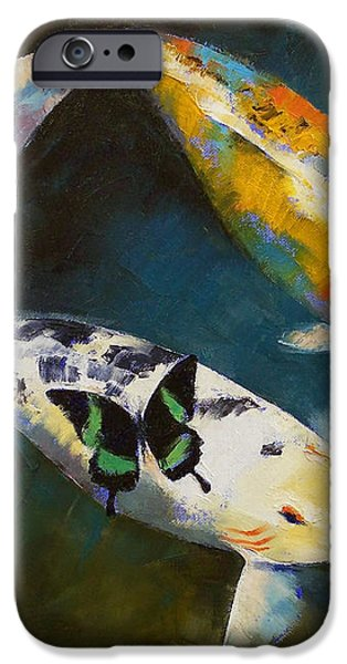 Koi Fish and Butterflies iPhone Case by Michael Creese