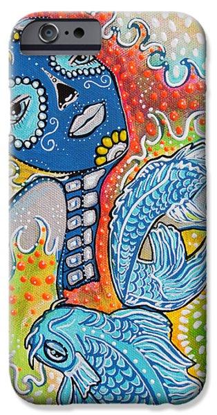 Koi Paintings iPhone Cases - Koi Fish Sugar Skull iPhone Case by Laura Barbosa