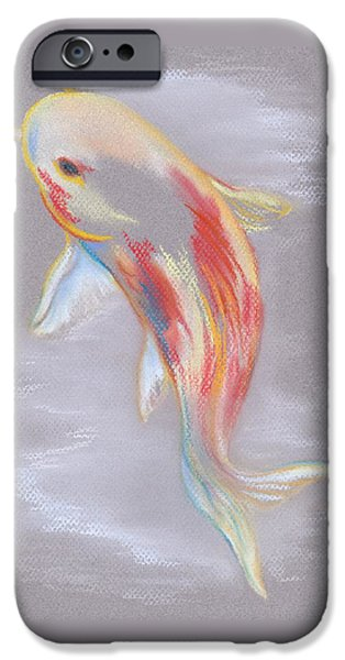 Aquatic Pastels iPhone Cases - Koi Fish Swimming iPhone Case by MM Anderson