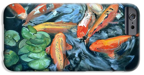 Butterfly Koi iPhone Cases - Koi Frenzy iPhone Case by Donna Tuten