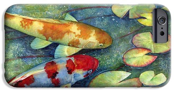 Koi Paintings iPhone Cases - Koi Garden iPhone Case by Hailey E Herrera