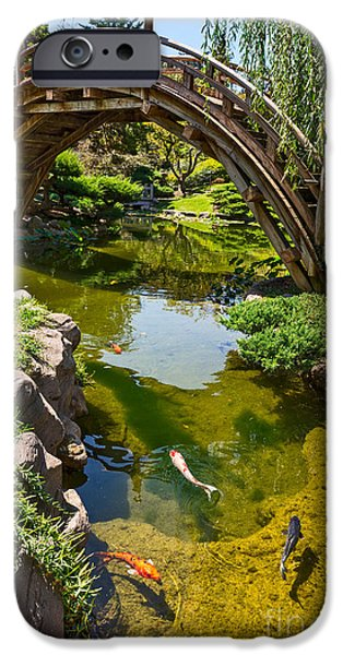 Willow Lake iPhone Cases - Koi Garden - Japanese Garden at the Huntington Library. iPhone Case by Jamie Pham