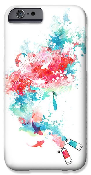 Fuchsia iPhone Cases - Koi Life In Water Color iPhone Case by Budi Kwan