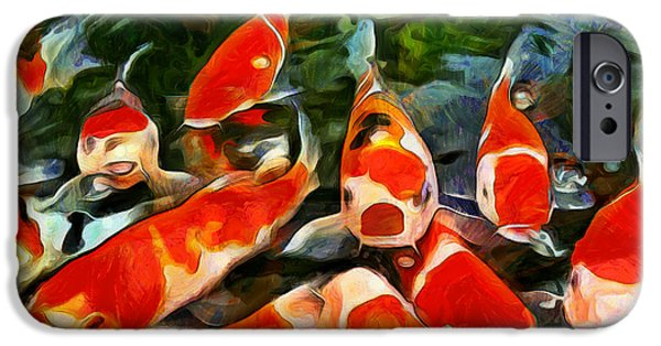 Goldfish Mixed Media iPhone Cases - Koi iPhone Case by Marion Daly