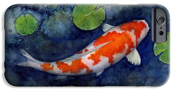 Koi Paintings iPhone Cases - Koi Pond iPhone Case by Hailey E Herrera
