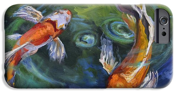 Butterfly Koi iPhone Cases - Koi Swirl iPhone Case by Donna Tuten