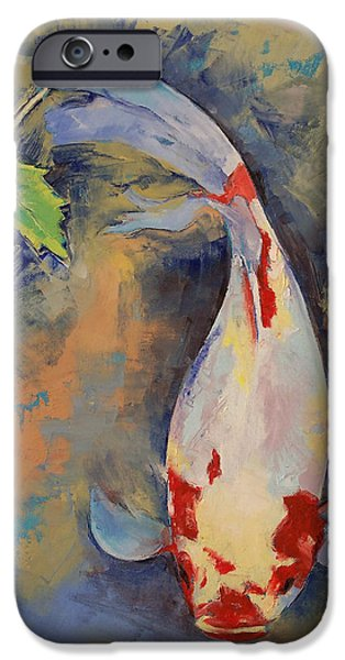 Recently Sold -  - Michael Paintings iPhone Cases - Koi with Japanese Maple Leaf iPhone Case by Michael Creese